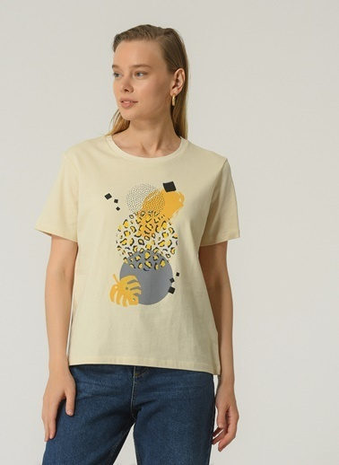 People By Fabrika Kadın Baskılı  Tişört PFKSS21TS0107 Bej